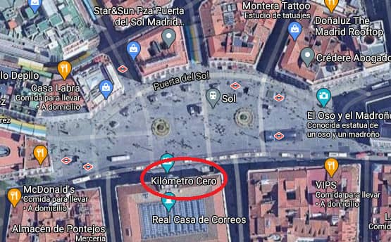 Kilometer Zero of Madrid Location