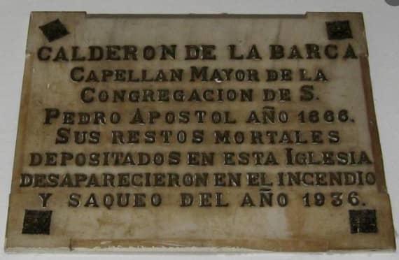 Placa Calderón de la Barca - Iglesia nuestra señora de los dolores